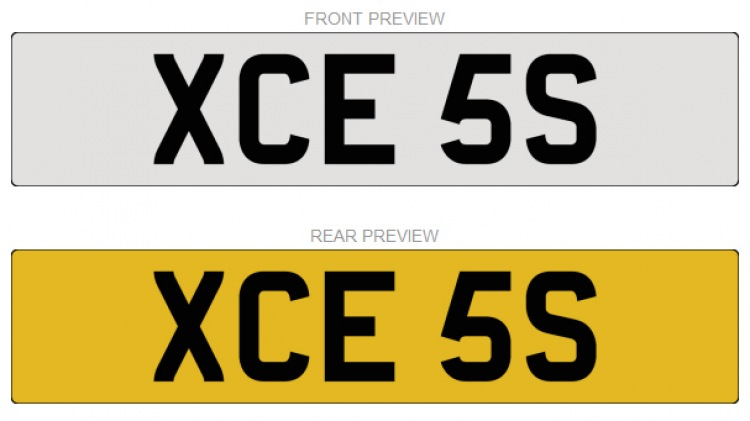 Number Plate - XCE 5S  For Sale